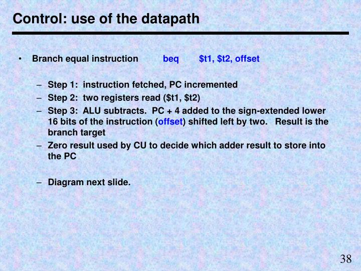 Control: use of the datapath