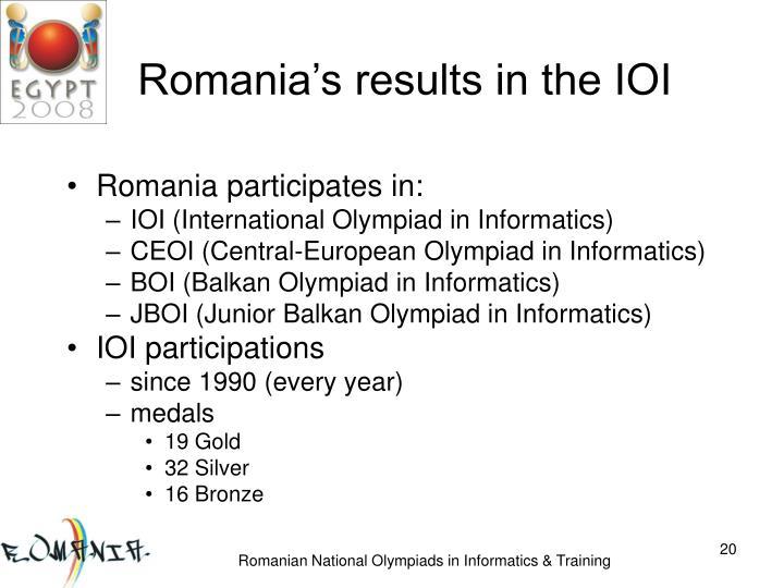 Romania's results in the IOI