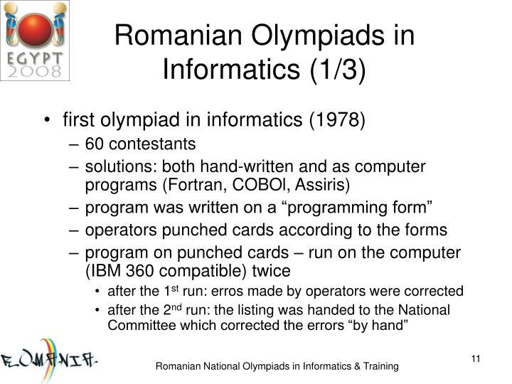 Romanian Olympiads in Informatics (1/3)