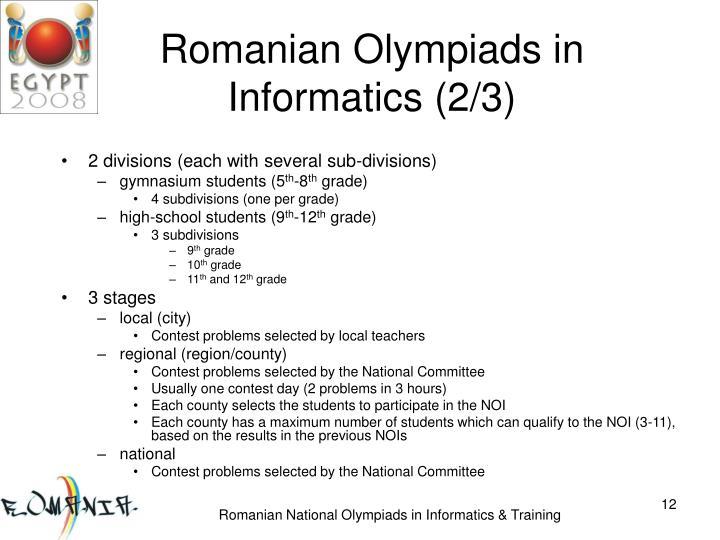 Romanian Olympiads in Informatics (2/3)