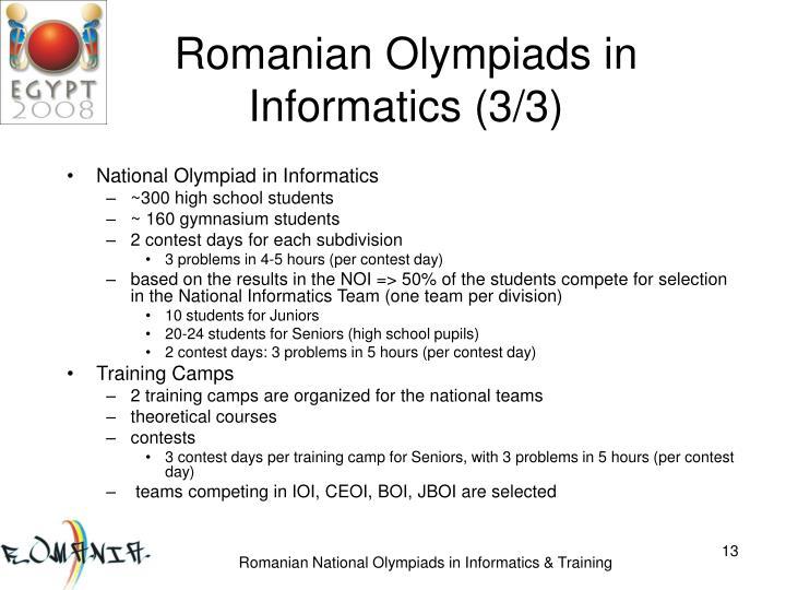 Romanian Olympiads in Informatics (3/3)