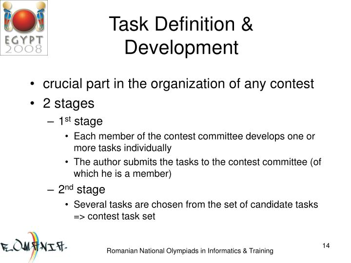 Task Definition & Development