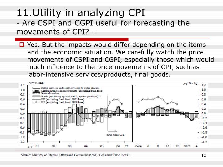 11.Utility in analyzing CPI