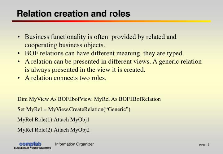 Relation creation and roles