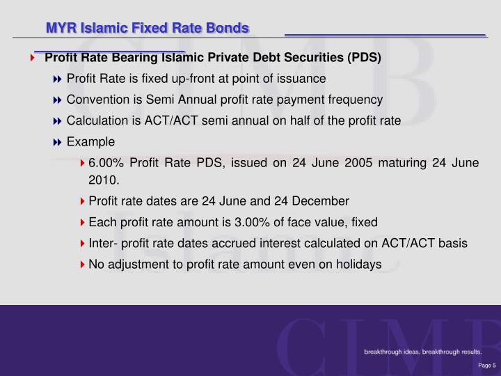 MYR Islamic Fixed Rate Bonds