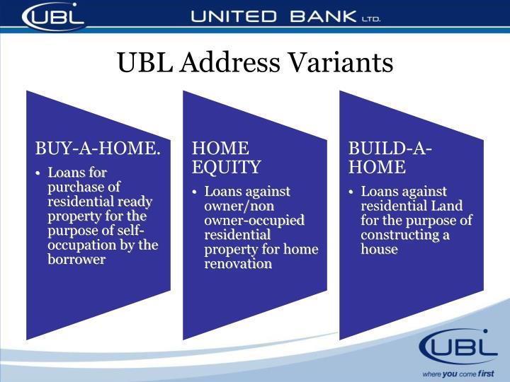 UBL Address Variants