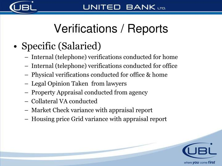 Verifications / Reports