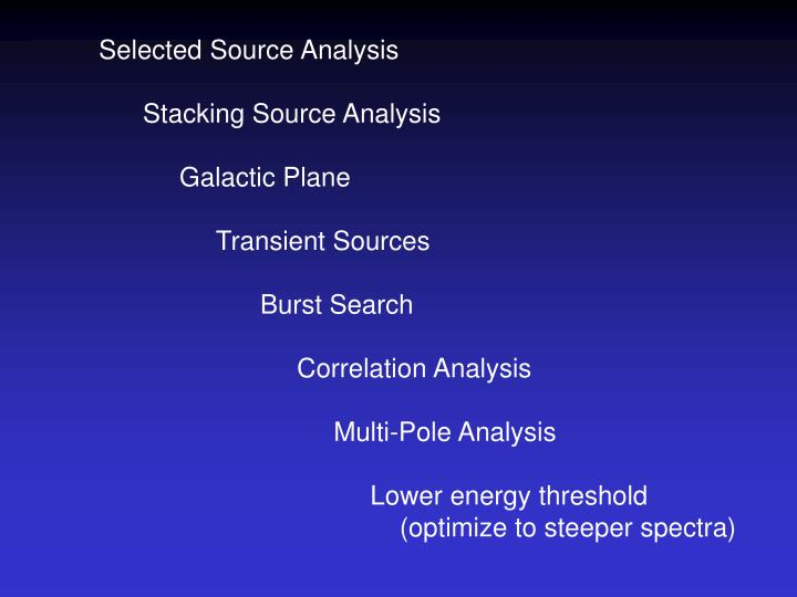 Selected Source Analysis