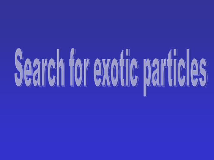 Search for exotic particles