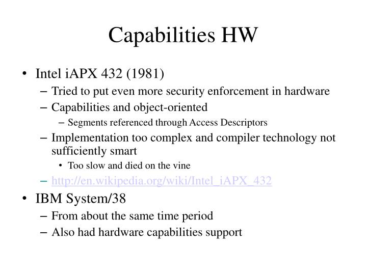 Capabilities HW