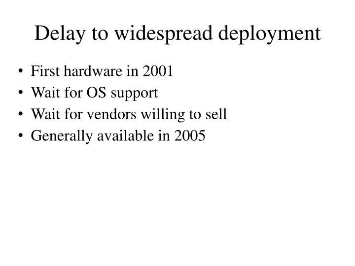 Delay to widespread deployment