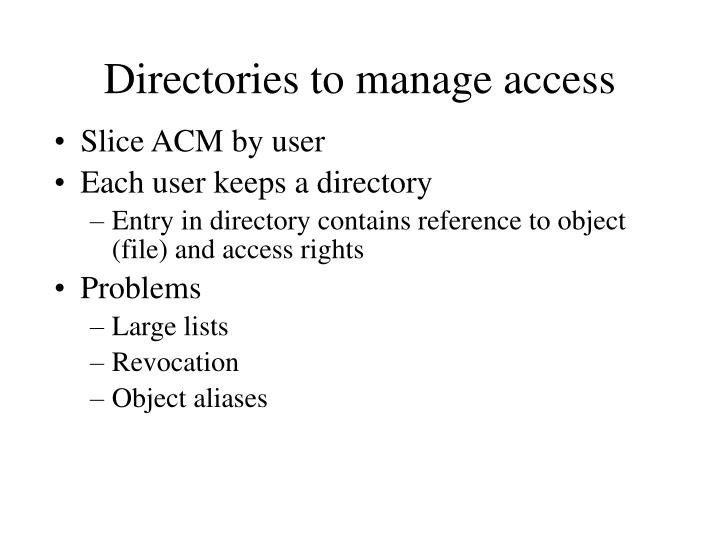 Directories to manage access
