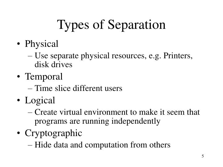 Types of Separation