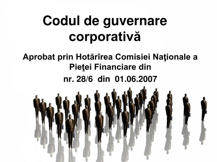 codul de guvernare corporativ