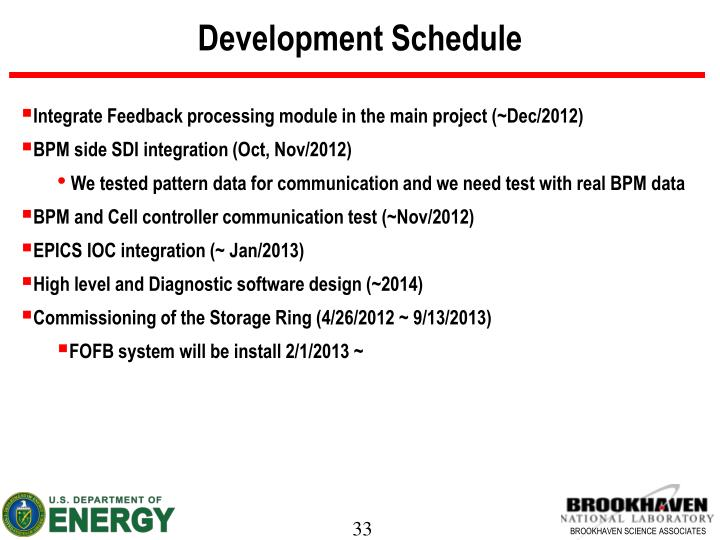 Development Schedule