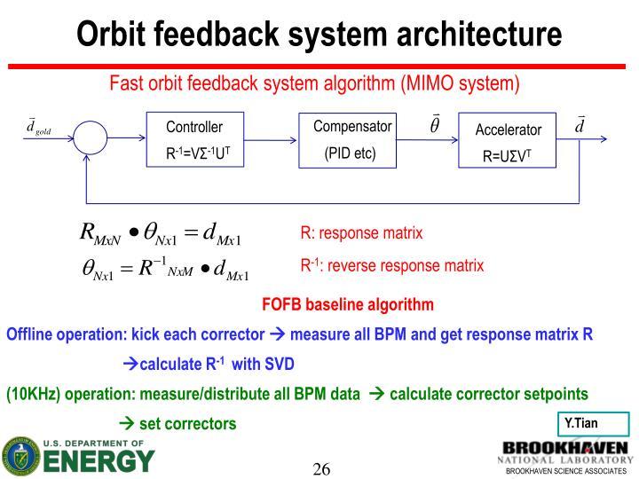 Orbit feedback system architecture