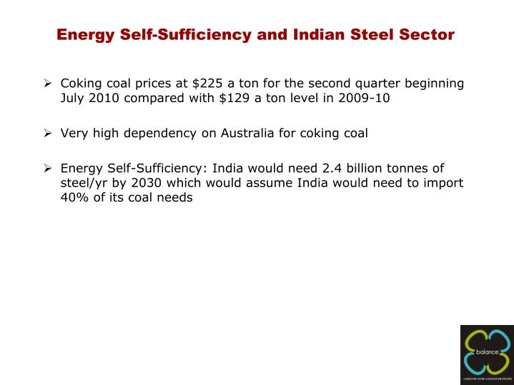 Energy Self-Sufficiency and Indian Steel Sector