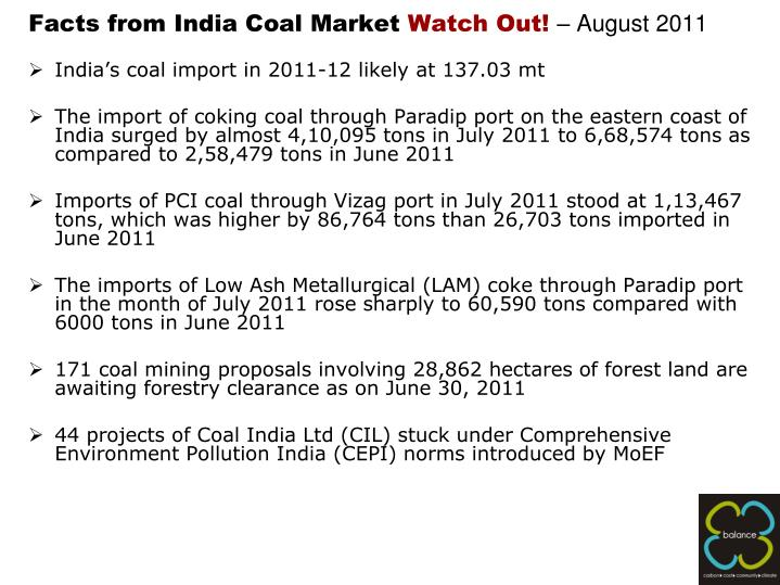 Facts from india coal market watch out august 2011