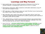 learnings and way forward