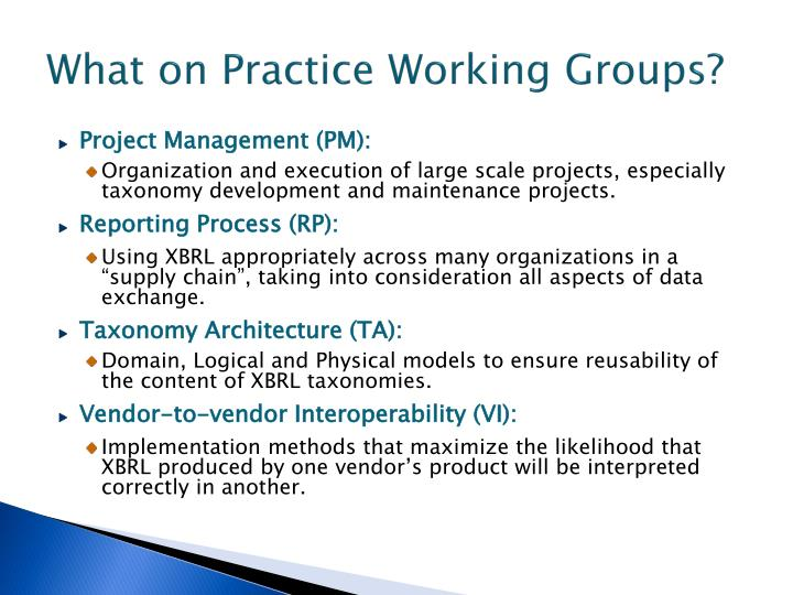 What on Practice Working Groups?