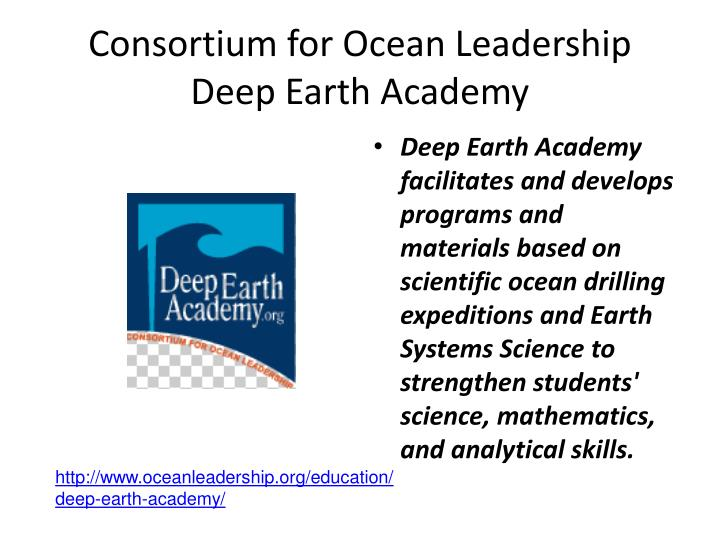 Consortium for Ocean Leadership Deep Earth Academy