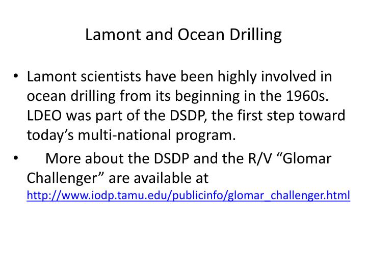 Lamont and Ocean Drilling
