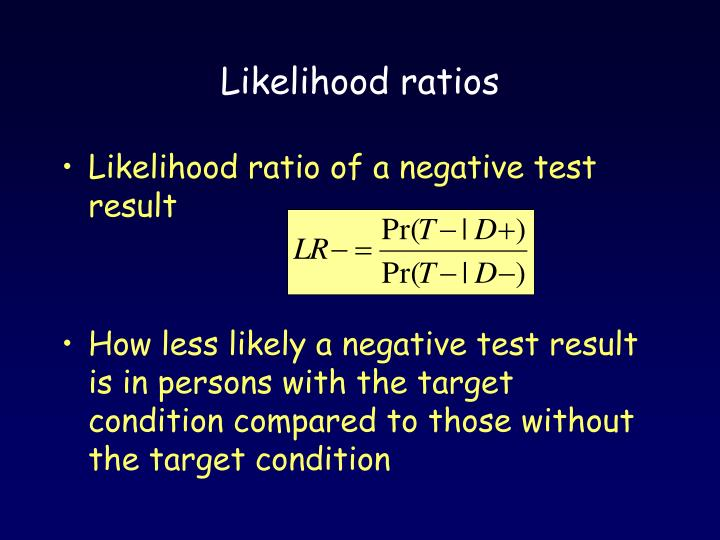 Likelihood ratios