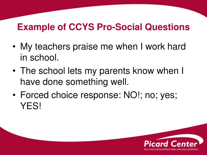 Example of CCYS Pro-Social Questions