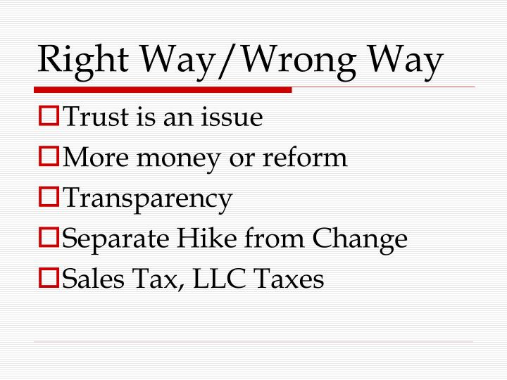 Right Way/Wrong Way