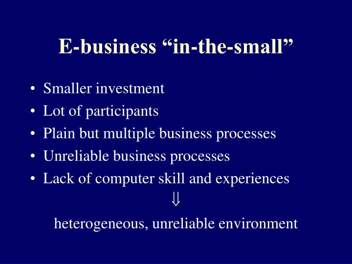 "E-business ""in-the-small"""