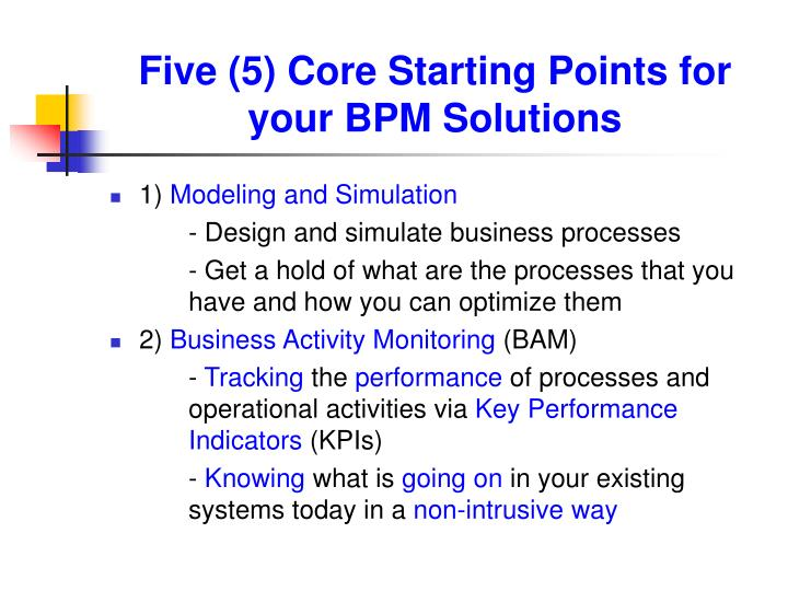 Five (5) Core Starting Points for your BPM Solutions