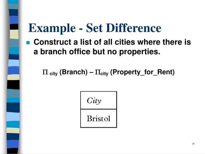 Example - Set Difference