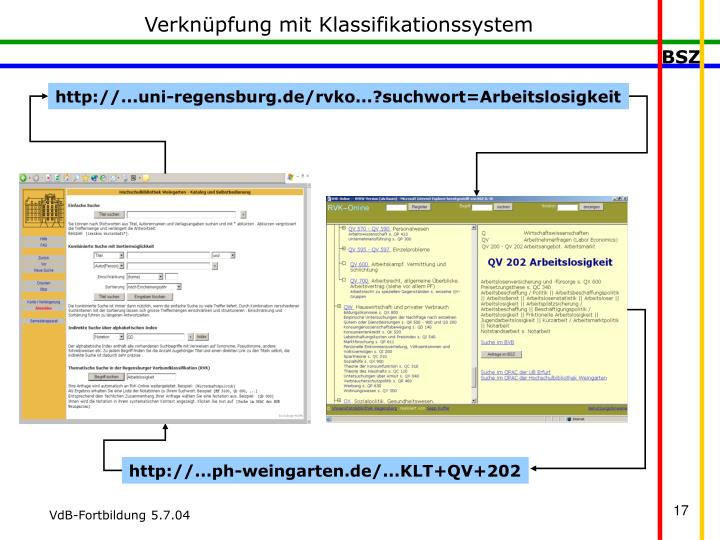 Verknüpfung mit Klassifikationssystem