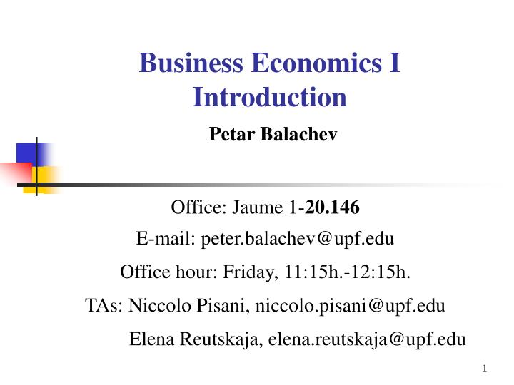 Business economics i introduction petar balachev