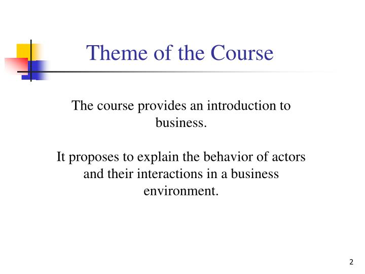Theme of the Course