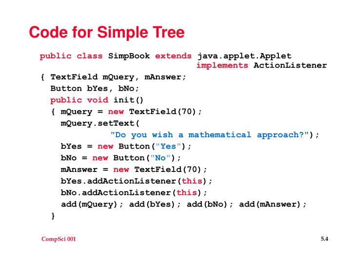 Code for Simple Tree