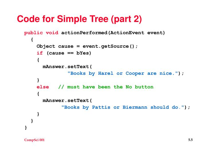 Code for Simple Tree (part 2)