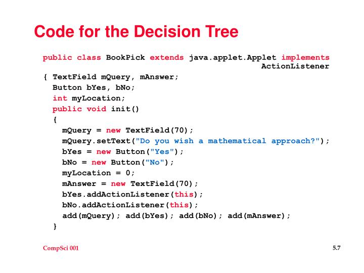 Code for the Decision Tree