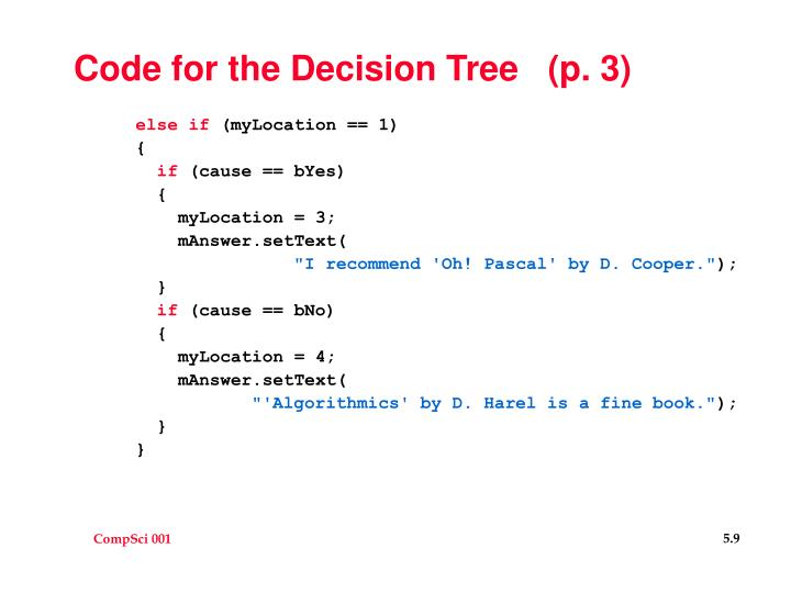 Code for the Decision Tree   (p. 3)