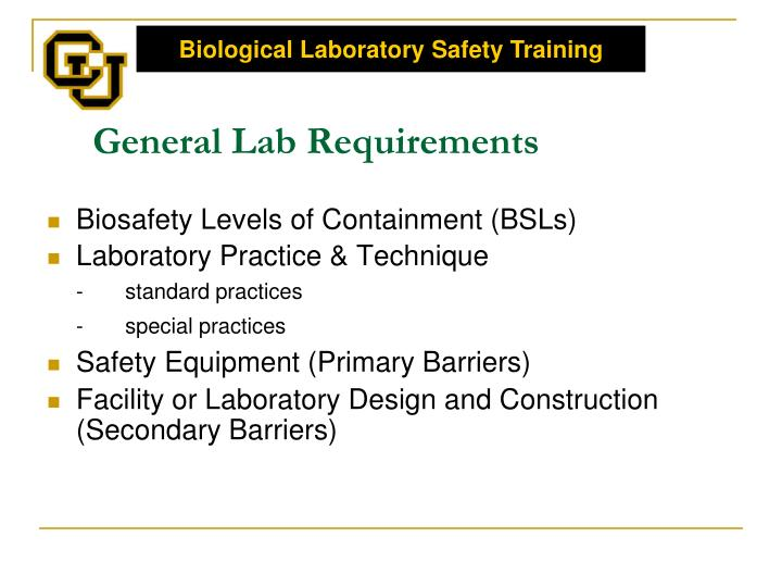 General Lab Requirements