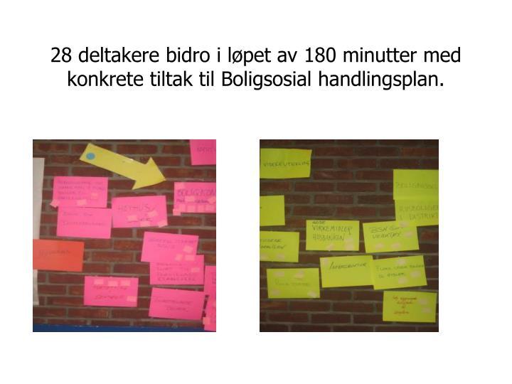 28 deltakere bidro i løpet av 180 minutter med konkrete tiltak til Boligsosial handlingsplan.