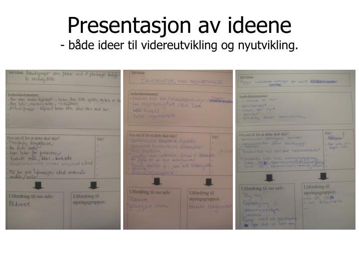 Presentasjon av ideene