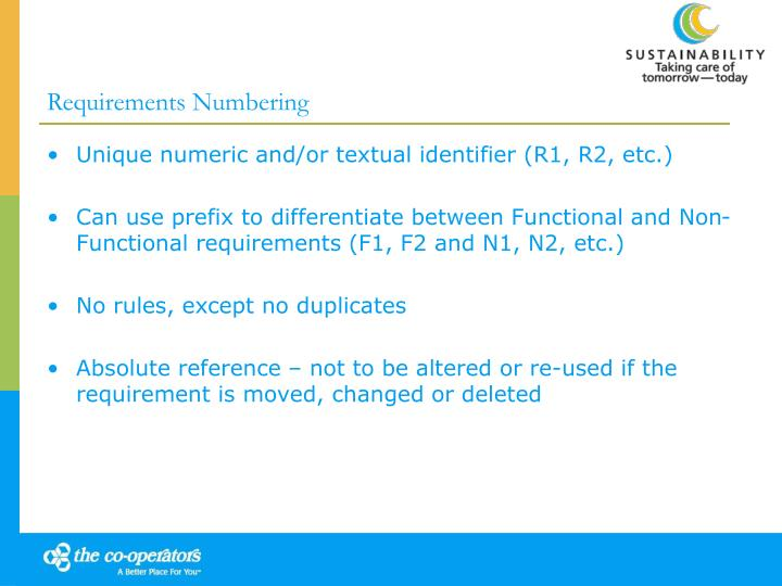 Requirements Numbering