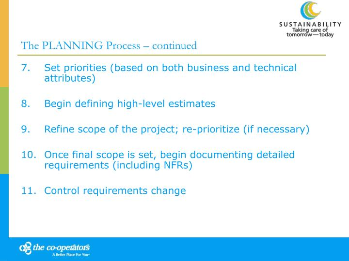 The PLANNING Process – continued
