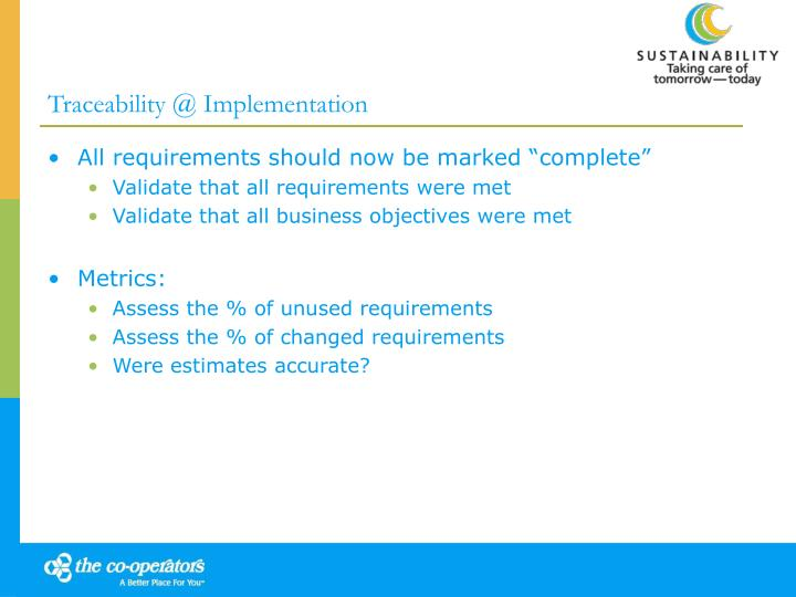 Traceability @ Implementation
