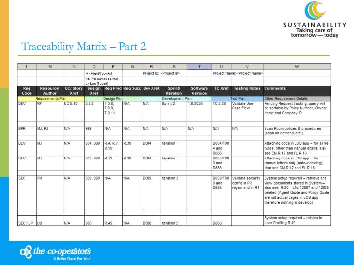 Traceability Matrix – Part 2