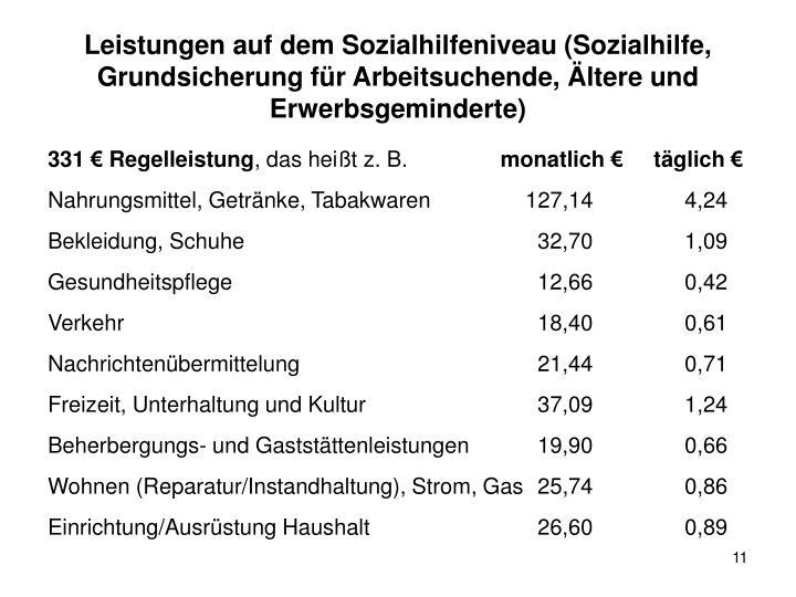 Leistungen auf dem Sozialhilfeniveau (Sozialhilfe, Grundsicherung für Arbeitsuchende, Ältere und Erwerbsgeminderte)