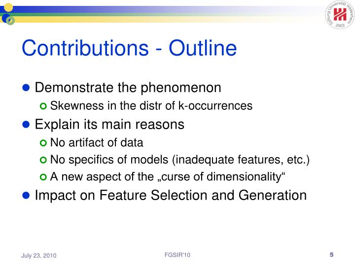 Contributions - Outline
