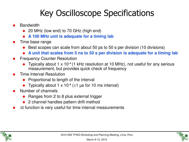 Key Oscilloscope Specifications