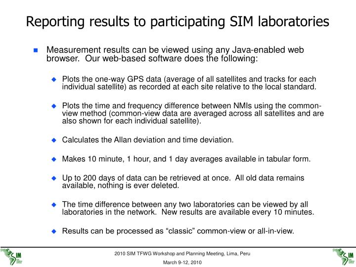 Reporting results to participating SIM laboratories